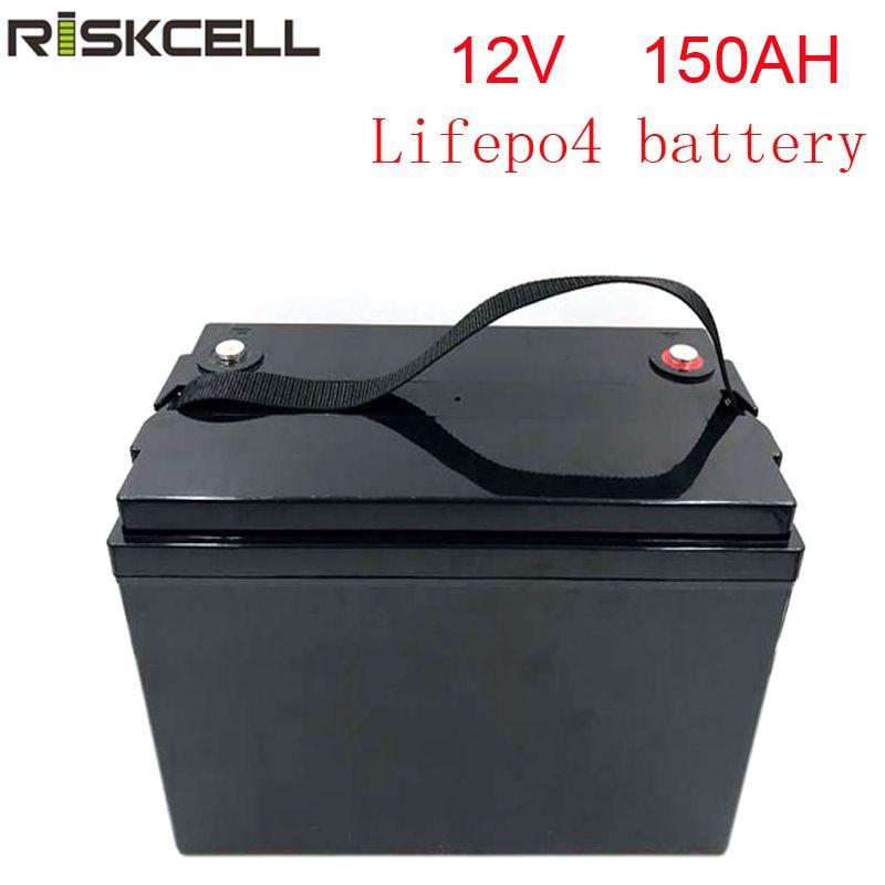 Keine steuern wiederaufladbare 12 V 150Ah lithium-Eisen Phosphat batterie pack LiFePO4 Batterie ABS Fall solar energie lagerung