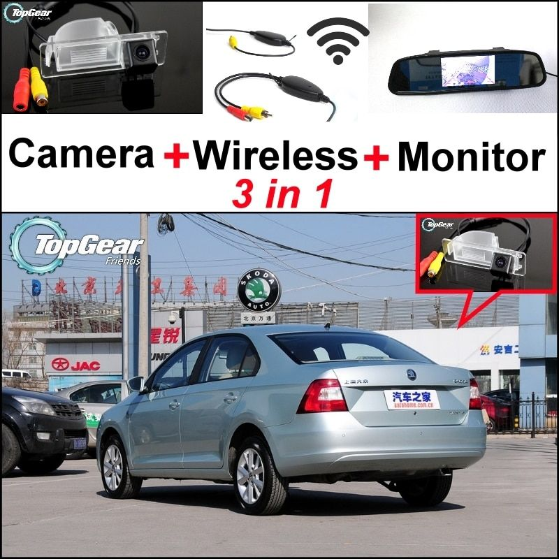 3 in1 Special Rear View Camera + Wireless Receiver + Mirror Monitor Easy Back Up Parking System For Skoda Rapid Sedan 2012~2015