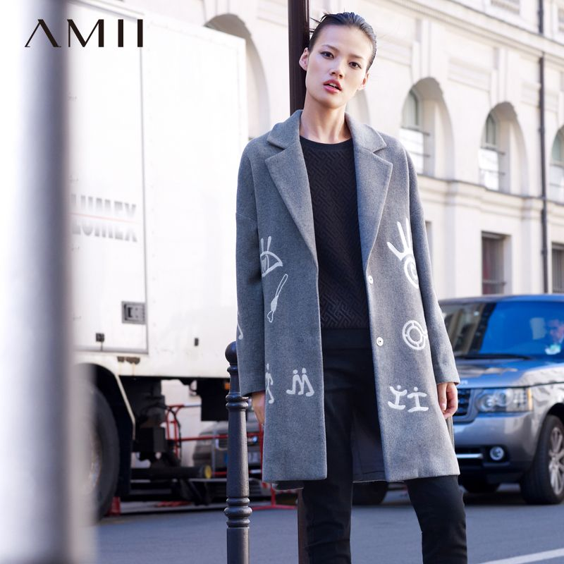 Amii Casual Minimalist Women Woolen Coat 2017 Winter Embroidery Covered Button Wide-waisted Female Wool Blends