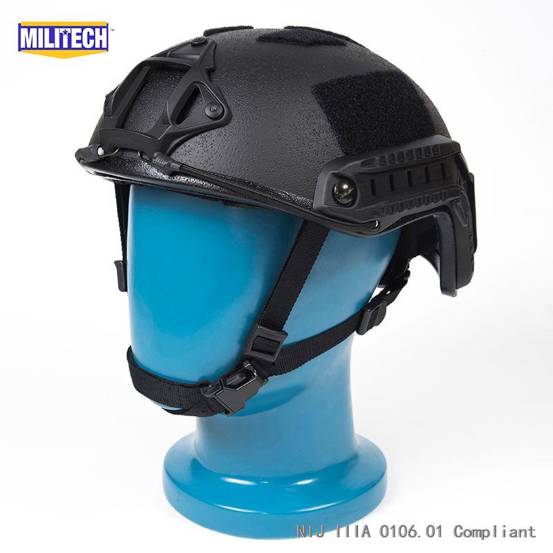 ISO Zertifiziert MILITECH 1,25 KG Lite Schwarz Super High Cut Kevlar Ballistischen Helm Licht Gewicht SWAT Kugelsichere Helm DEVGRU SEAL