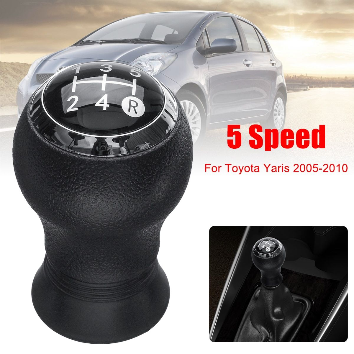 5 Speed MT Car Gear Shift Knob Head Gear Knob Cover Shifter Lever Stick For Toyota Yaris 2005-2010