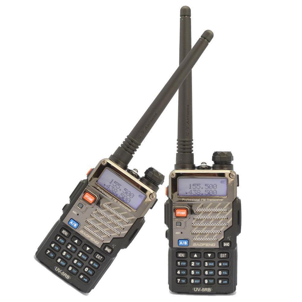 2-pcs baofeng uv-5rb 5r plus nouveau 136-174/400-520 mhz double bande radio + écouteur + ru stock