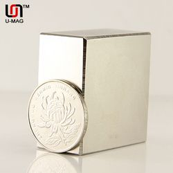 1pcs Block 40x40x20mm N52 Super Strong pull force 85kg magnets  Neodymium Magnet high quality Free shipping  Rare Earth