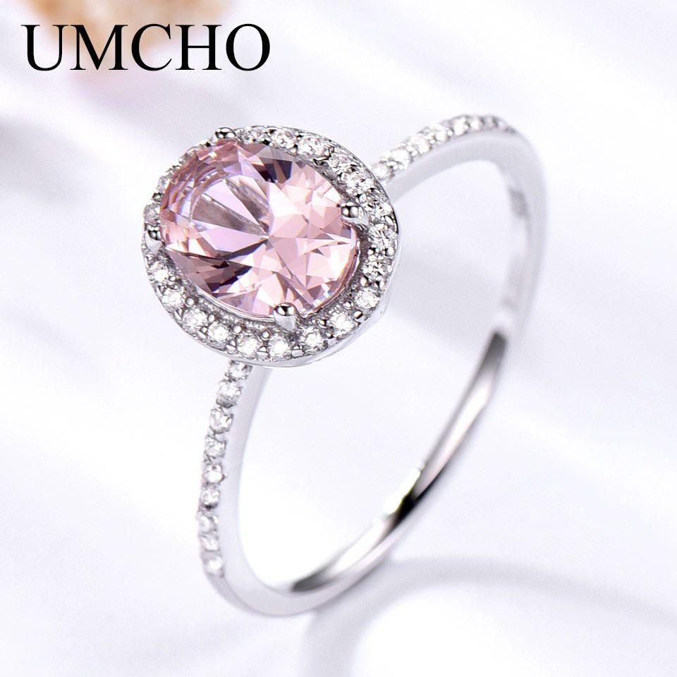 UMCHO 925 Sterling Bague En Argent Ovale Classique Rose Saphir bagues pour femmes Engagement Morganite bague de mariage beaux bijoux cadeau