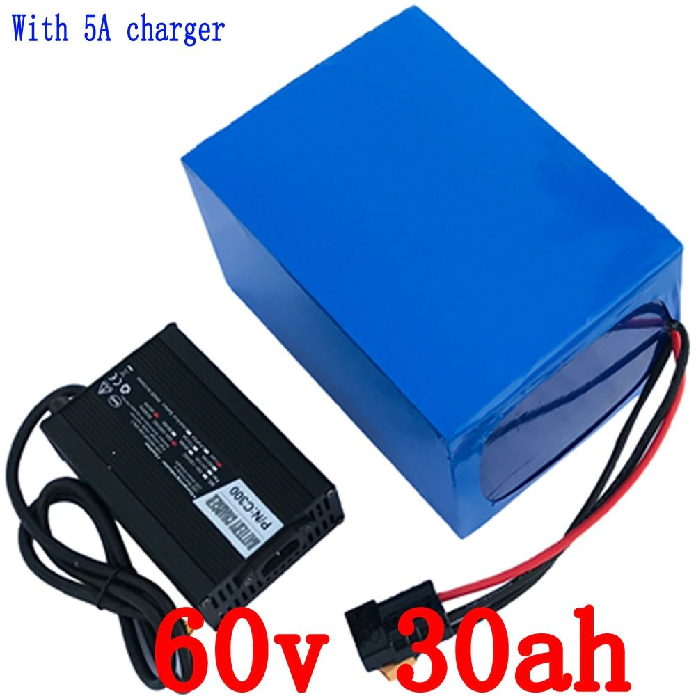 Free shipping 60V 3000W Lithium Scooter Battery 60V 30AH Electric Bike Battery with 50A BMS and 67.2V 5A Charger