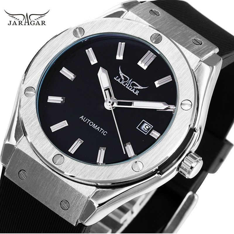 JARAGAR Sport Watches for Men Automatic Mechanical Wristwatch Rubber Strap Auto Date Military Design High Quality Watch + BOX