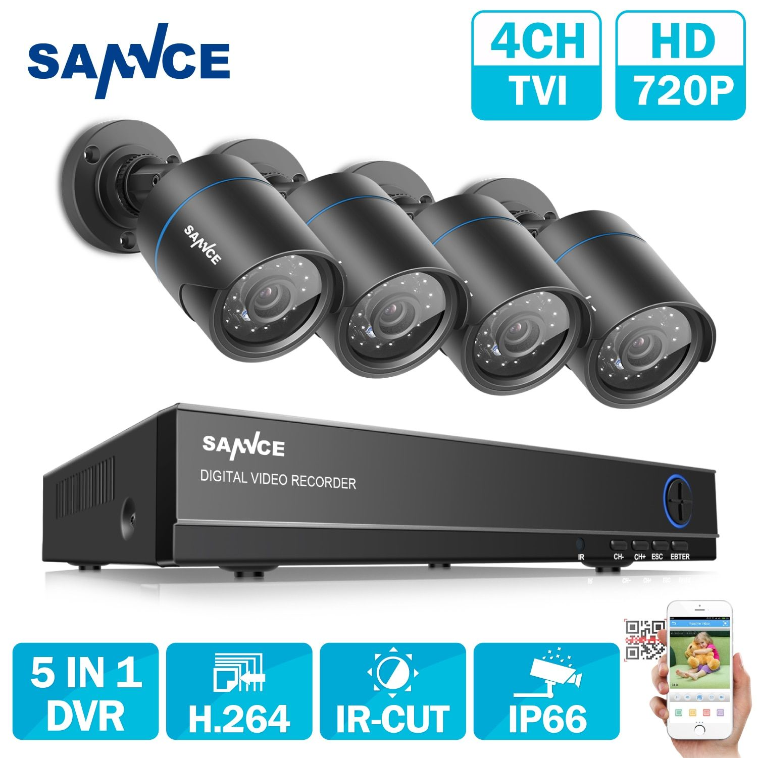 SANNCE HD 4CH 1080N 720P CCTV System HDMI AHD DVR 4PCS 1200TVL IR Outdoor Night Vision Security Camera Video Surveillance Kit