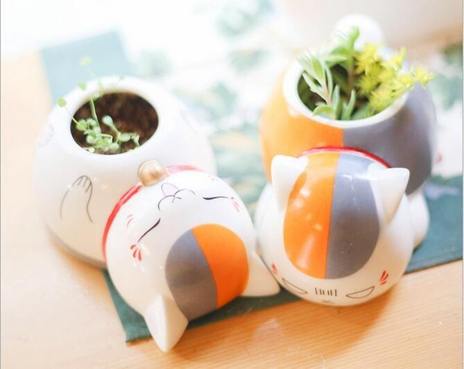 Professeur de chat de bande dessinée mignon en céramique pots de fleurs petites plantes en pot Planteur
