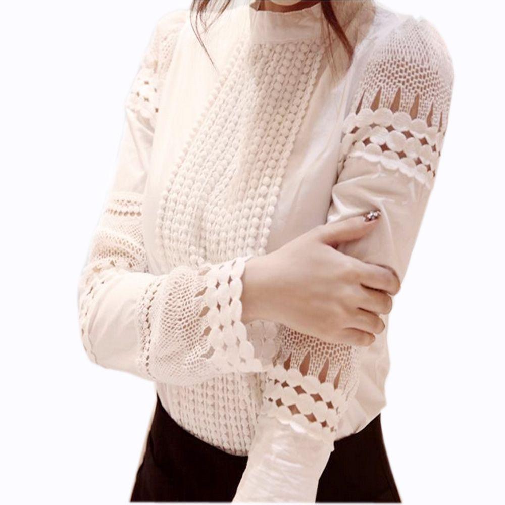 S-5XL Automne Chemises de Femmes Blanc à manches longues Blouses Slim tops basiques grande taille Creux chemises de dentelle Femelle qualité supérieure J2531