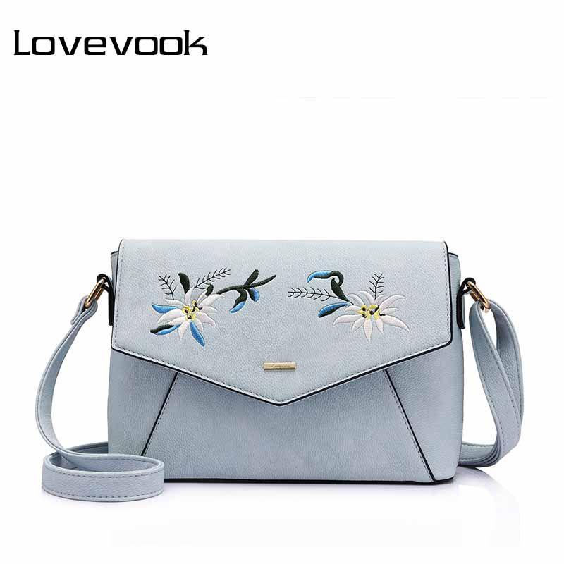 LOVEVOOK women shoulder <font><b>crossbody</b></font> bag female flower embroidery handbag for women messenger bags envelope Satchel Purse large PU