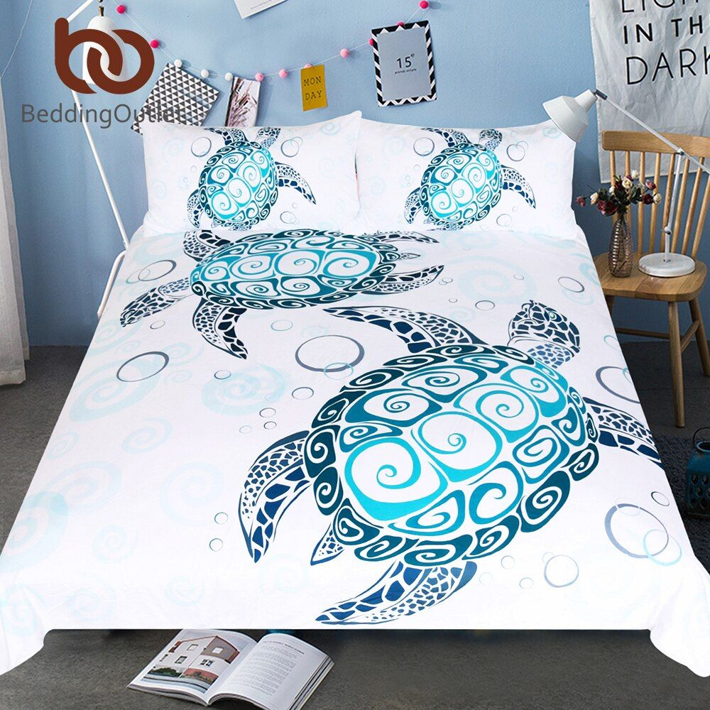 BeddingOutlet Turtles Bedding Set Tortoise Duvet Cover Marine Animal Home Textiles 3-Piece Cartoon Blue and White Bedclothes