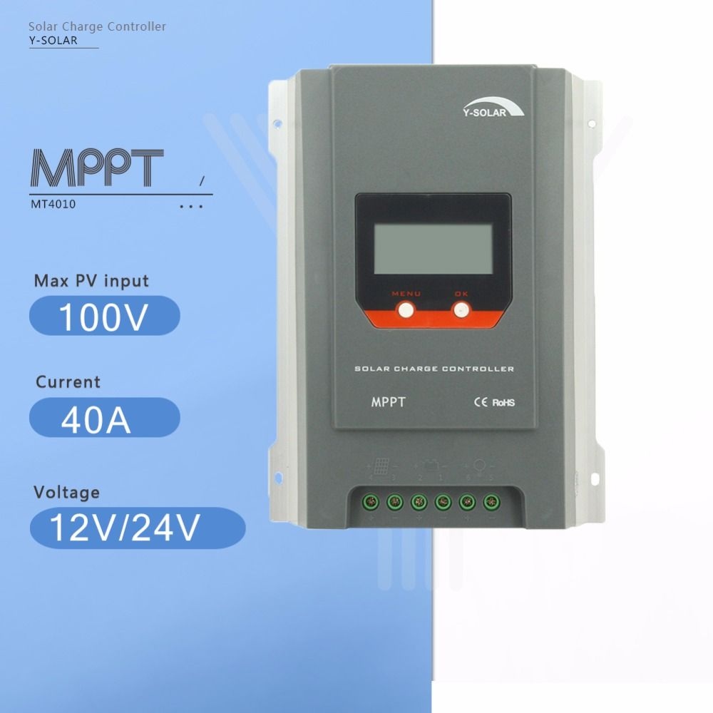 Y-SOLAR MPPT 40A Solar Charge Controller 12V/24V Auto Solar Panel Battery Charge Regulator with LCD Display Four Charging MT4010
