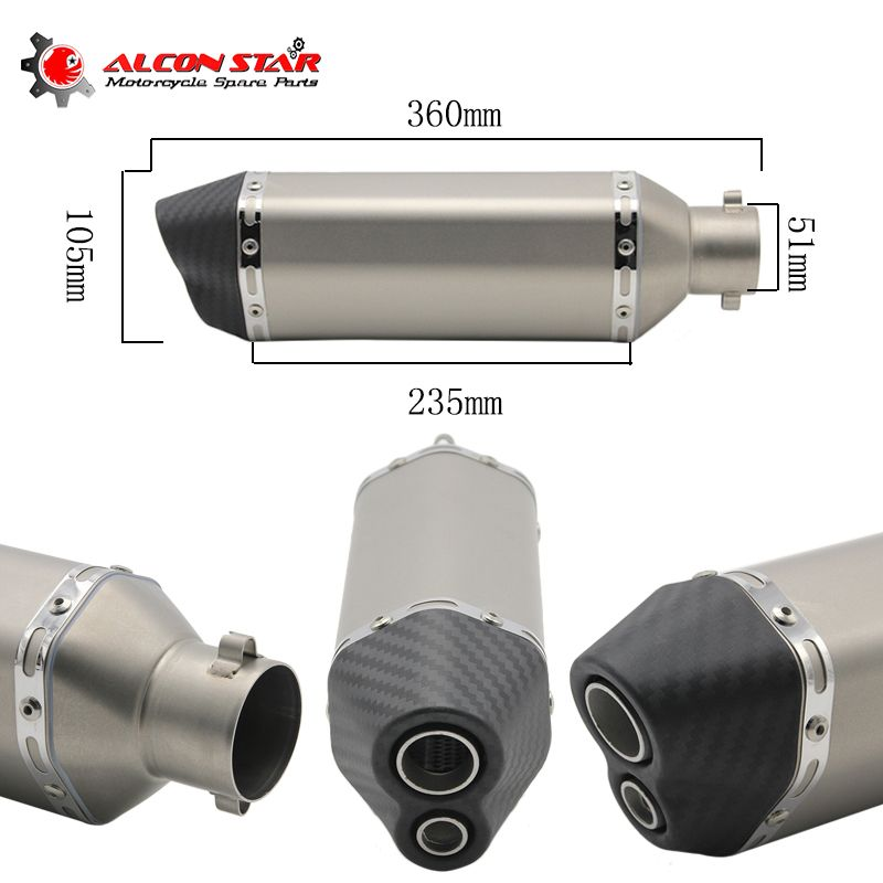 Alconstar- Carbon Fiber Color 35-51mm Motorcycle Akrapovic Exhaust Muffler Pipe SC Escape Moto Exhaust CB400 TMAX530 CBR125 Z800