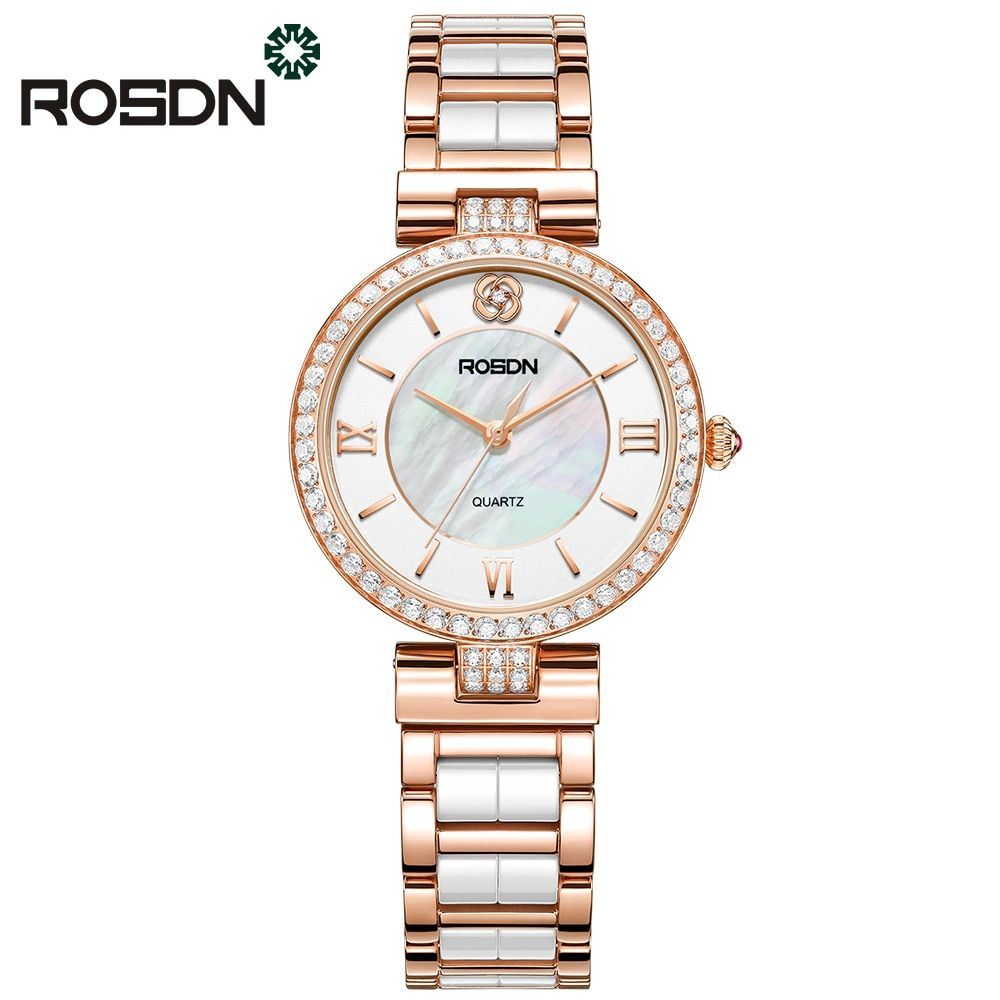 ROSDN luxury brand watches women fashion Rose gold watch beauty crystal table casual female quartz wrist watch ceramics band