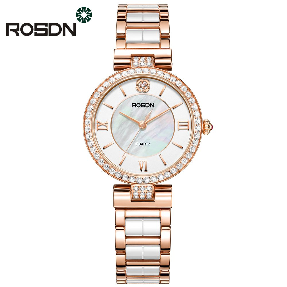 ROSDN luxury brand watches women fashion Rose gold watch beauty crystal table casual female quartz wrist watch ceramics band