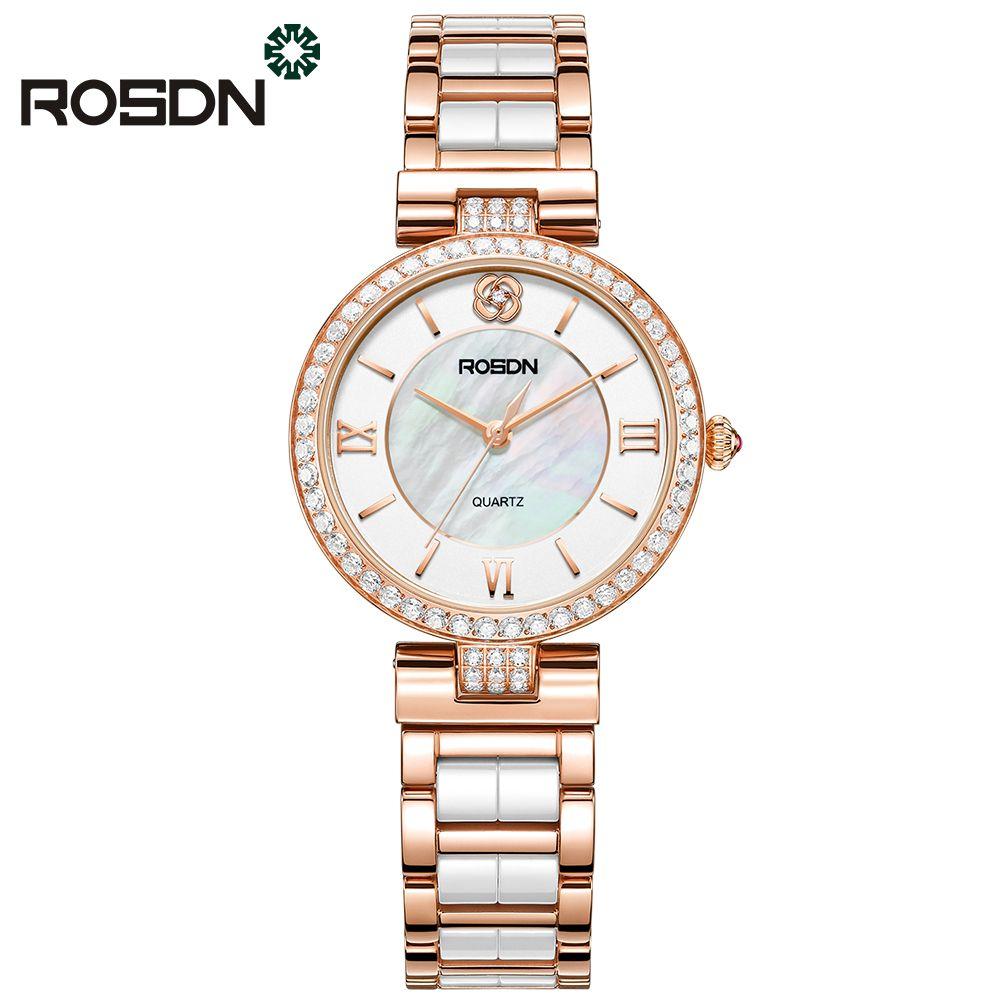 ROSDN luxusmarke uhren damen fashion Rose gold uhr schönheit kristall tisch casual weibliche quarz-armbanduhr keramik band