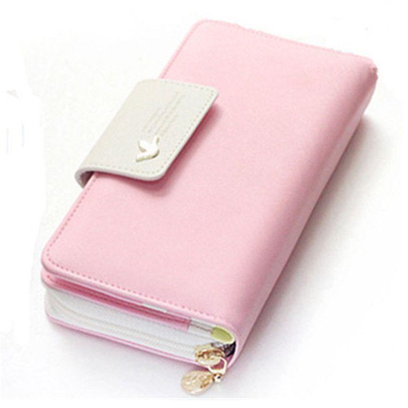 Frauen geldbörse 2018 Mode Pu-leder Geldbörsen Damen Geld Kartenhalter Rosa weibliche Reißverschluss Geldbörse Brieftaschen Tropfenverschiffen rosa