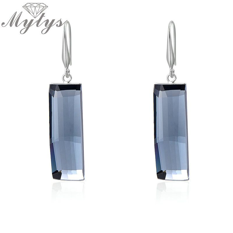 Mytys Crystal Drop Long Square Rectangle Earrings For Women Free Shipping Jewelry Trendy Crystal Earring CE38