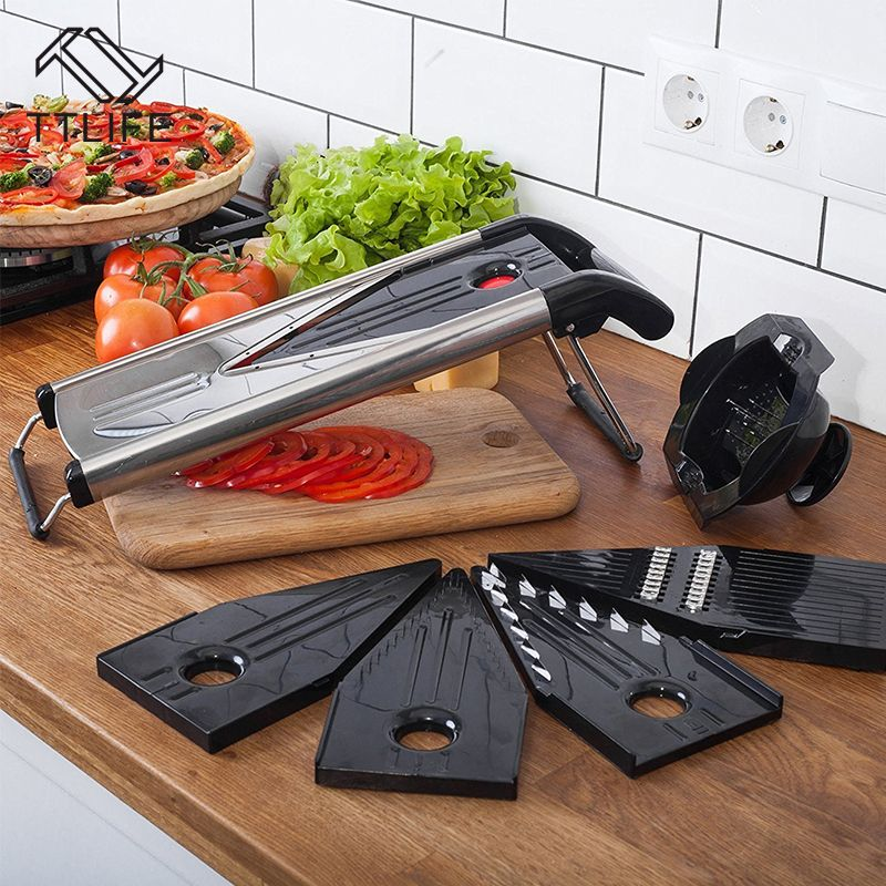 TTLIFE Professional Multifunctional V-Slicer Mandoline Slicer Food Chopper Fruit & Vegetable Cutter with 5 Blades kitchen Tool