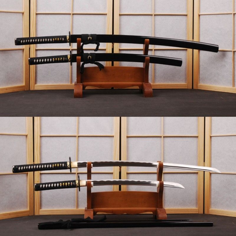 Handmade 1060 Carbon Steel Japanese Swords Set Vintage Katana & Samurai Wakizashi Full Tang Wave Hamon Sharp Edge Can Cut Bamboo