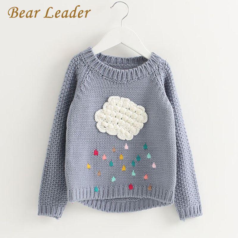 Bear Leader Girls Clothing 2017 Winter Pullover Children Sweaters Cartoon Cloud Long Sleeve Outerwear O-neck Kids Knitwear 3-7Y