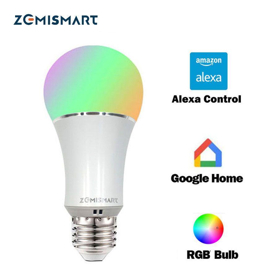 Dimmable E27 WiFi RGB Led Ampoule Lumière Voix Contrôle par Alexa Echo Google Maison 2.4G WfiFi Contrôle par APP Blanc Couleur Disponible