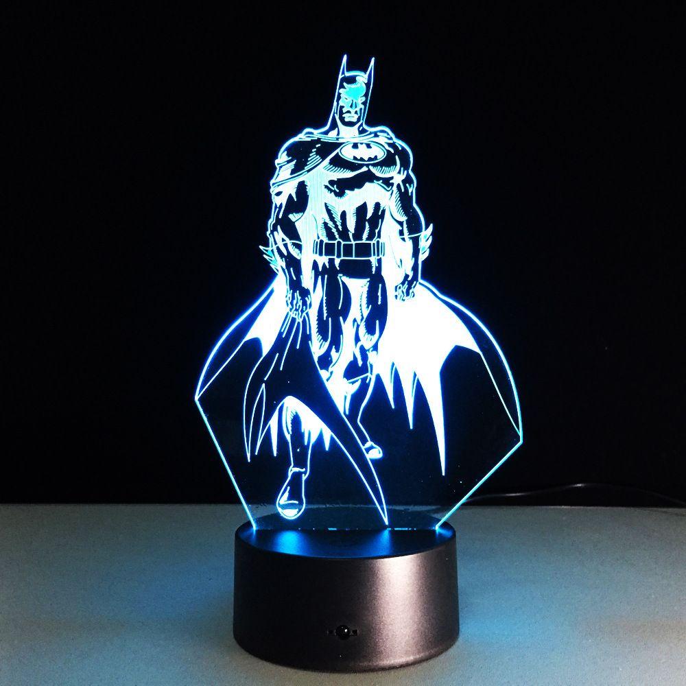 Batman 3D LED coloré veilleuse New52 Batman acrylique USB LED lampe de Table créative Action Figure éclairage jouet