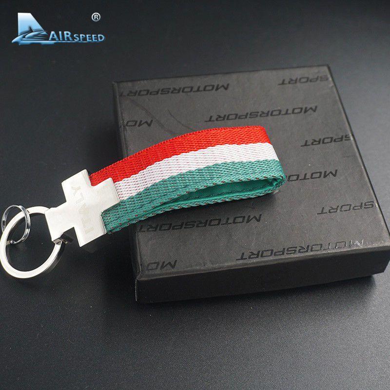 Airspeed ITALY Flag Keychains Key Holder Key Chain Key Ring for Fiat Alfa Romeo Ferrari Maserati Lamborghini Pagani Car-styling