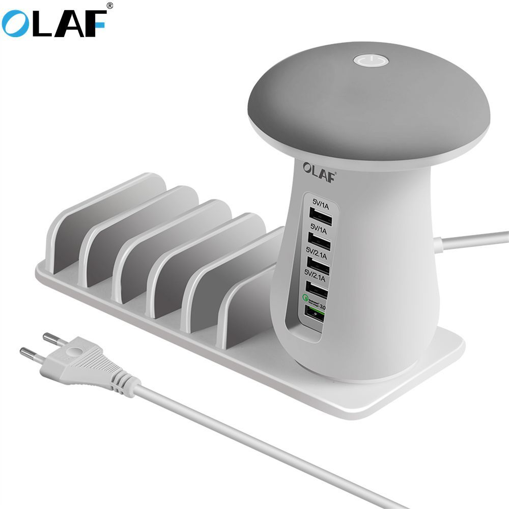 OLAF Multi 5-Port USB Charger Quick Charge 3.0 USB Charging Station with QC 3.0 Port for iPhone for Xiaomi for Samsung for LG