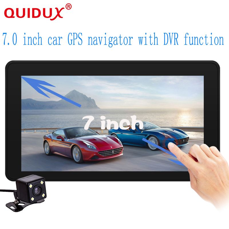 QUIDUX New 7 inch Car DVR Camera Radar Detector Dual Lens GPS Navigation Android Free Map Car Video Camera Recorder Black Box