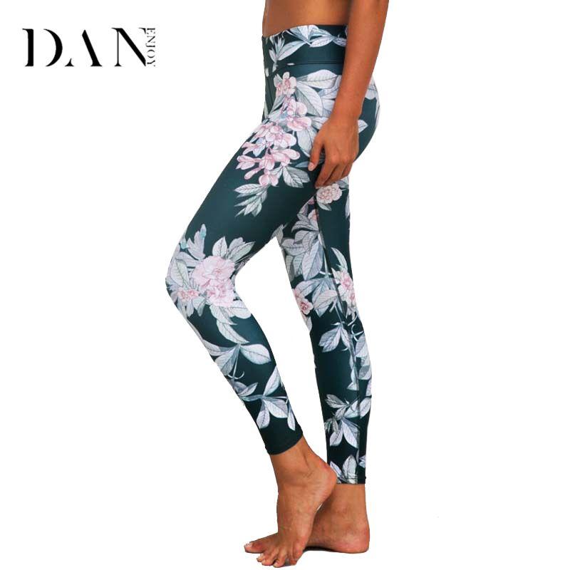 DANENJOY Printed Yoga Pants Women High Waist Sport Printing Leggings Floral Fitness <font><b>Running</b></font> Tights Push Compression Sportswear