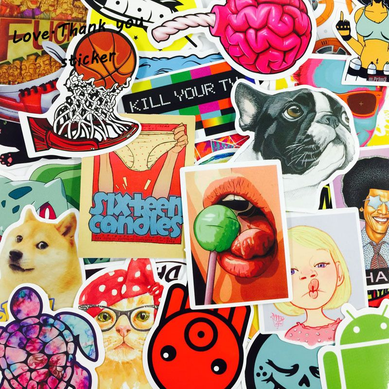 4000pcs Mixed funny laptap stickers Home decor on laptop sticker decal fridge skateboard doodle toy stickers DHL/UPS/SHUNFENG