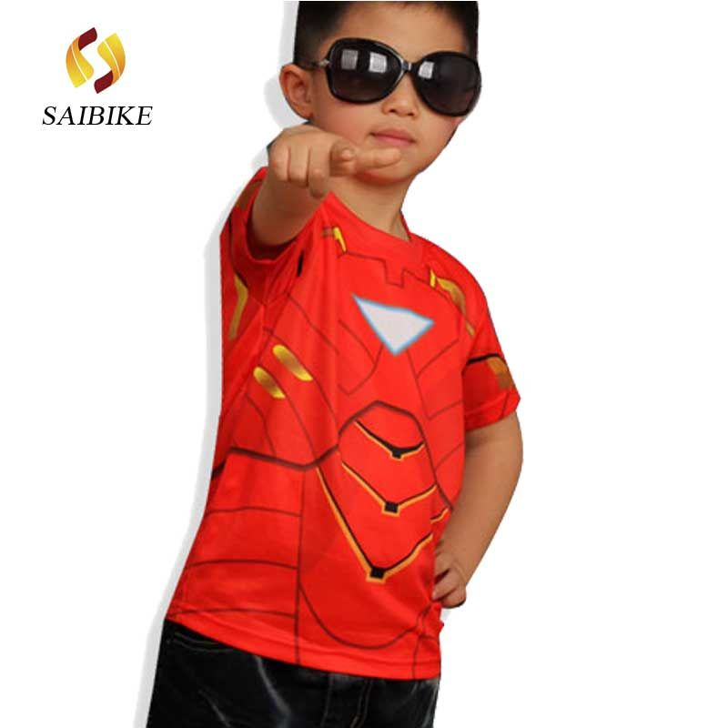 Maillot de cyclisme Super héros Marvel America spiderman batman superman Iron man le flash homme enfants & enfants t-shirt de cyclisme