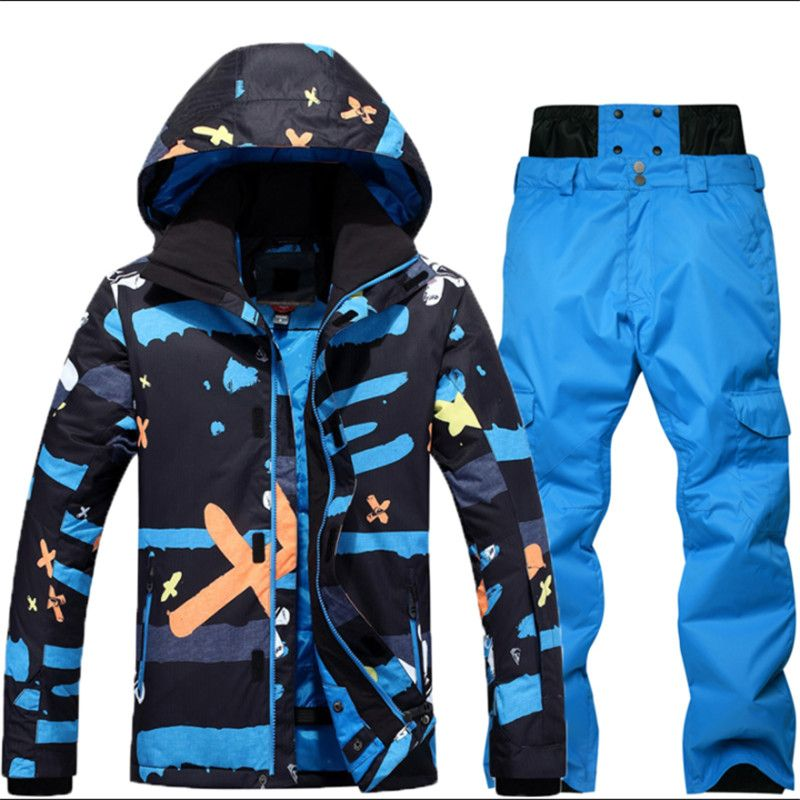 2018 NEW -30 Degree Warm Snowboarding Suits Men Winter Ski Suit Male Waterproof 10000 Breathable Snow Jacket +Pant Ski Sets