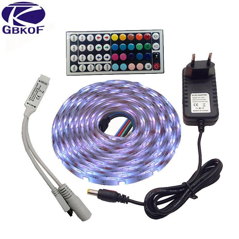 GBKOF SMD RGB LED Strip Light 5050 10M 5M 30Leds/m led Tape Waterproof diode ribbon 44Keys Controller DC 12V power adapter set