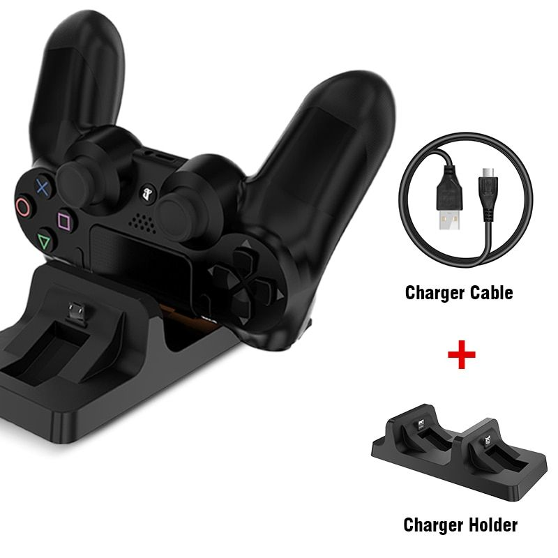 FLOVEME Dual USB Charging Dock Station Stand for PS4 PlayStation Game Controller Handle Charger Cradle Bracket for PS 4