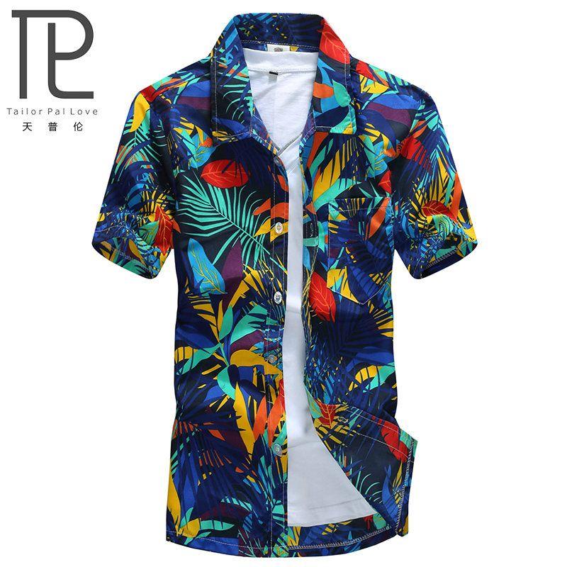 Mens Hawaiian Shirt Male Casual camisa masculina Printed Beach Shirts Short Sleeve brand clothing Free Shipping Asian Size 5XL