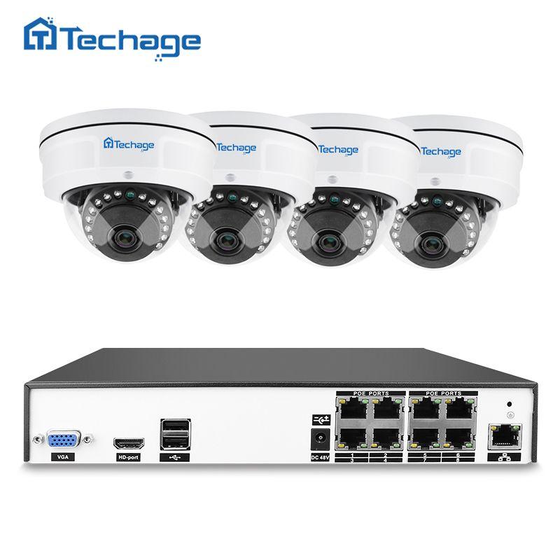 Techage H.265 8CH 4MP POE NVR CCTV System Indoor Vandalproof Anti-vandal Dome IP Camera P2P Onvif Security Surveillance Kit