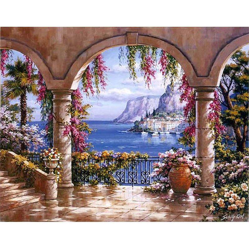 Peinture par numéros bricolage livraison directe 50x65 60x75cm bord de mer fleur pavillon paysage toile mariage décoration Art image cadeau