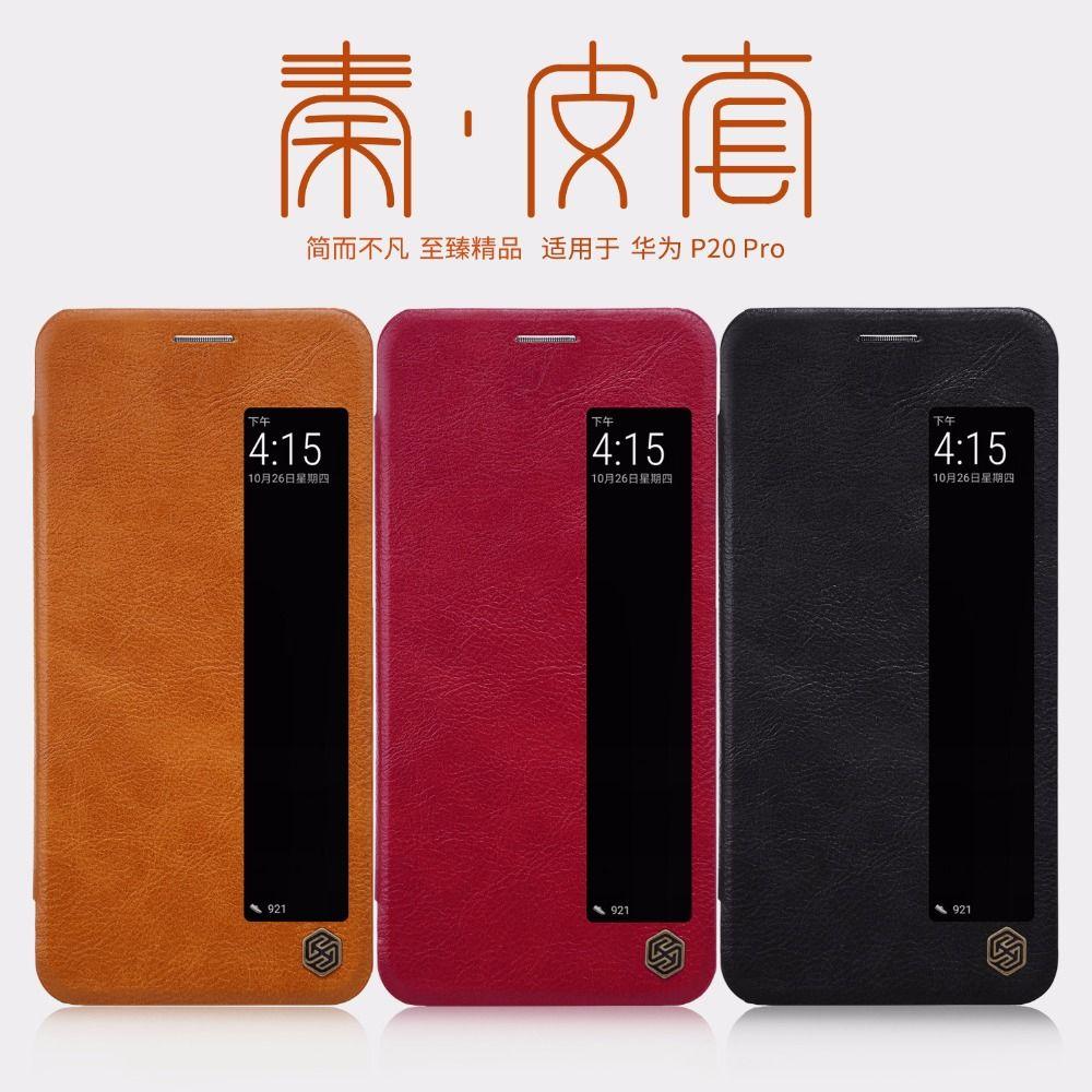 Huawei P10 Plus P20 Pro Cas smart cover Nillkin QIN Cas protection en cuir de luxe flip cover avec réveil/sommeil fonction