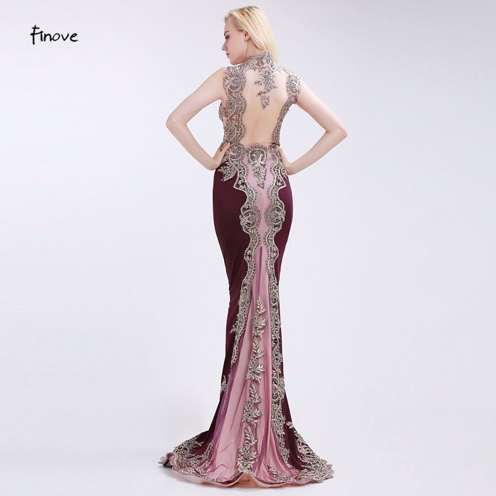 Finove Claret-Red Evening Dresses Elegant Mermaid Beading and Appliques 2017 New Court Train Square Collar Floor Length Dresses
