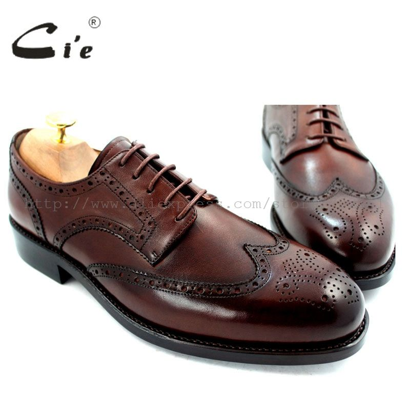 cie Free Shipping Full Brogues Goodyear welted Handmade Genuine Calf Leather Men's Dress Derby Wider Last Dark Brown Shoe No.D51
