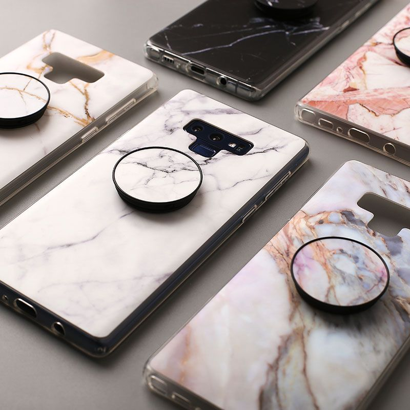 Luxury Note 9 Cases for Samsung Galaxy S7Edge S7 S8 S8Plus Note 8 S9 S9Plus Cover Marble Stone Phone Case with Grip Stand Holder