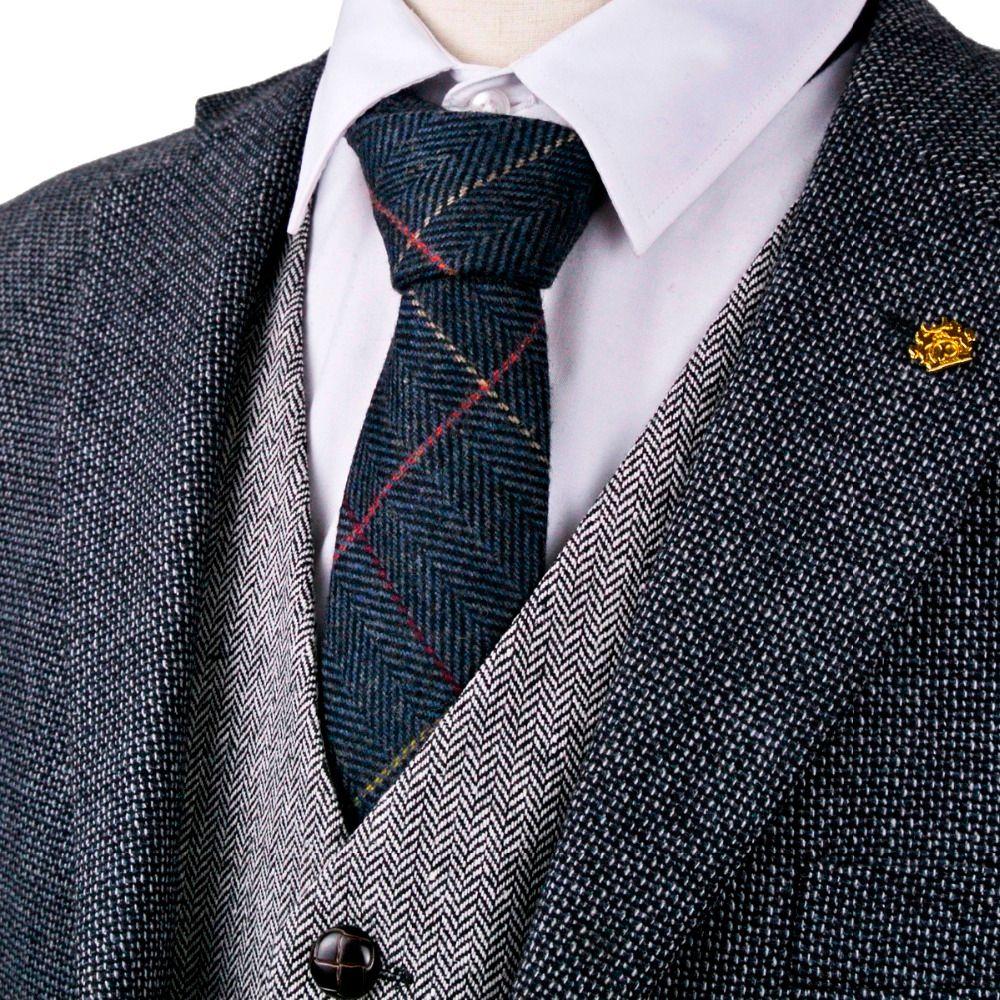 Checked Herringbone Tweed Navy Blue Brown Camel Gray Grey 2.76