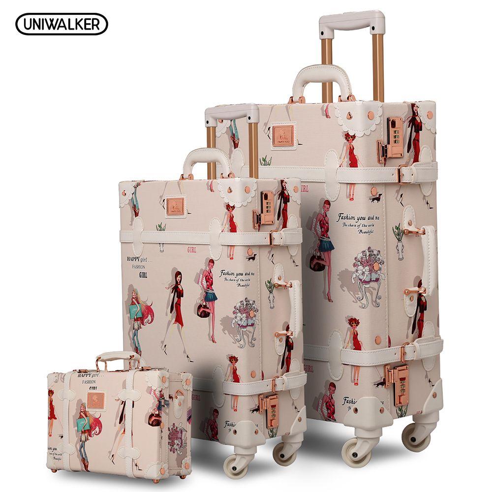 12 20 26 3 STÜCKE set Mode Mädchen Retro Rollgepäck Bagages Pu Koffer Stamm Vintage Gepäck Mit Spinner Räder für Frauen