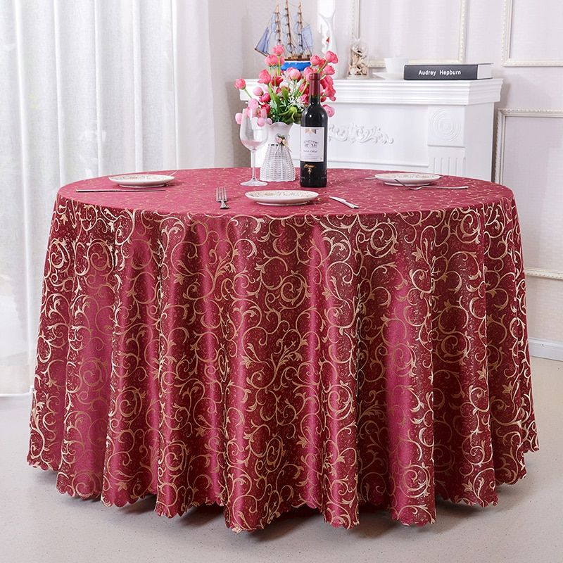 ROMANZO 100% Polyester Round Table Cover Fabric Square Dining Table Cloth Champagne Color Tablecloth Booth Setting Home Deccor