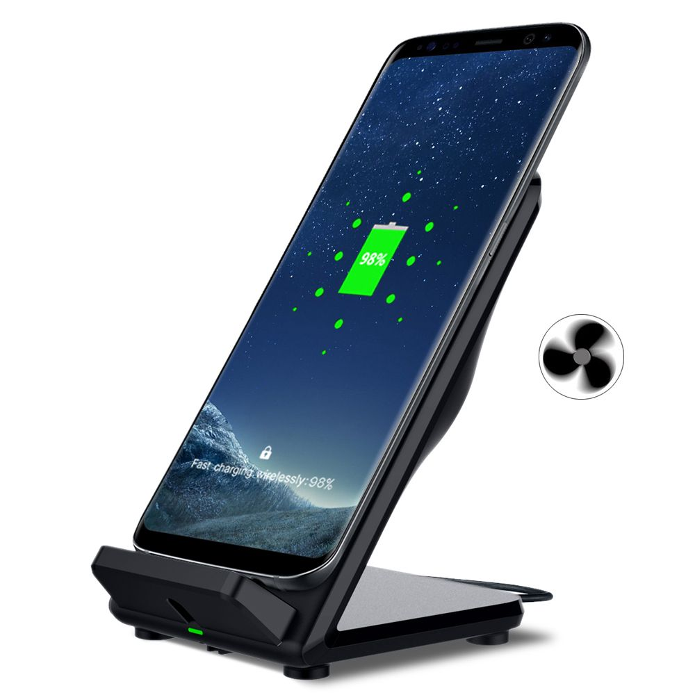 Qi Wireless Charger for Samsung Galaxy S8 S8 Plus S6 S7 Edge CHUNFA New Fast Charger Dock Qi Wireless Charging Adapter with Fan