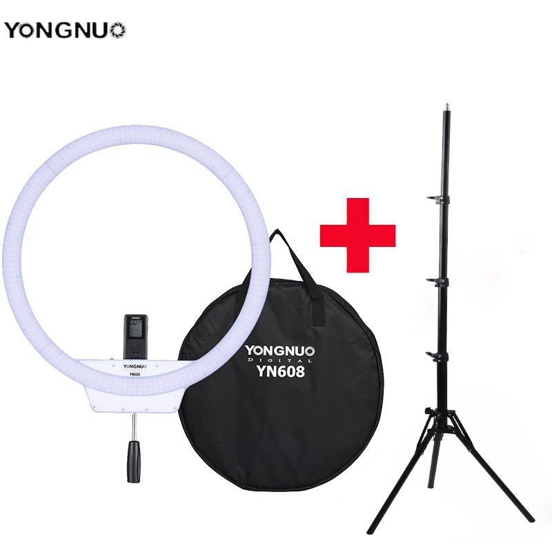 YongNuo YN608 Selfie Ring Light 3200K~5500K Bi-Color Temperature Wireless Remote LED Video Light CRI>95 with Handle Grip Tripod