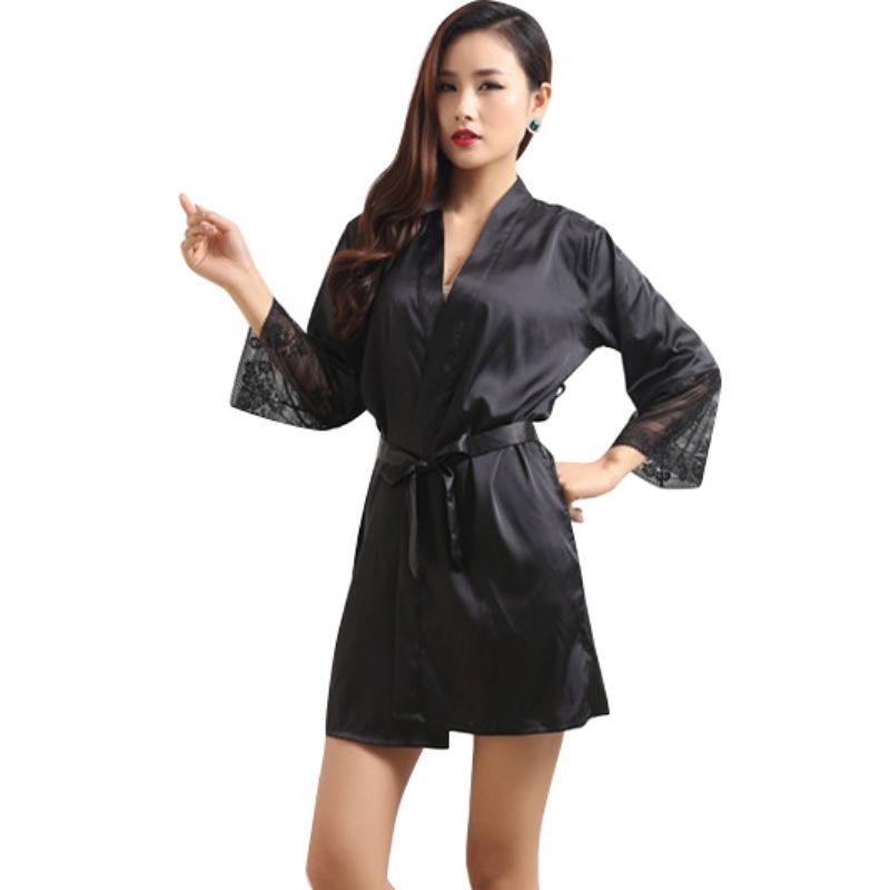Mid-sleeve sexy women nightwear robes 7993 M L XL XXL lace real silk female bathrobes LM93