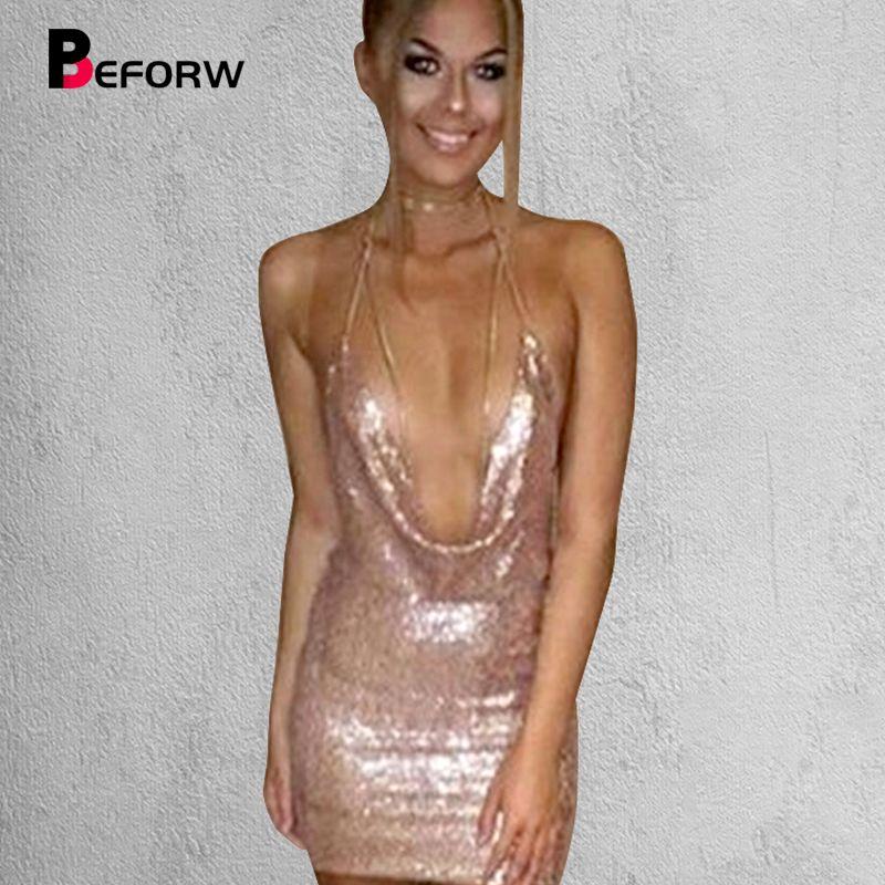 BEFORW Sequin Robe Femmes Robes Sexy Party Night Club Robe En Métal Diamant Chaîne Sling Vêtements Or Argent Super Sexy Robe